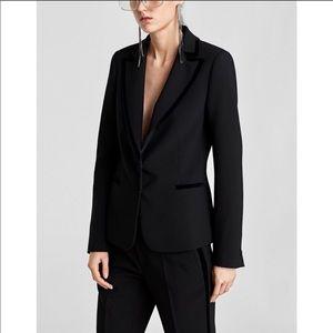 NWT Zara Black Velvet Trimmed Tuxedo Blazer Jacket
